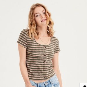 American Eagle Striped Faux Button Cropped Shirt